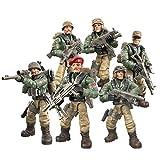 DRAKE18 Soldados de Figuras de acción Conjuntos de Juegos de Fuerzas Especiales 6 en 1 Carácter Militar de Combate del Desierto Montaje de Juguetes con Armas y Accesorios (1:35)