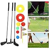 HEREB Juego de juguetes de golf para niños, 10 piezas portátiles Mini niños Golf Club Juguete al aire libre Aprendizaje Putting Golf para niños preescolares