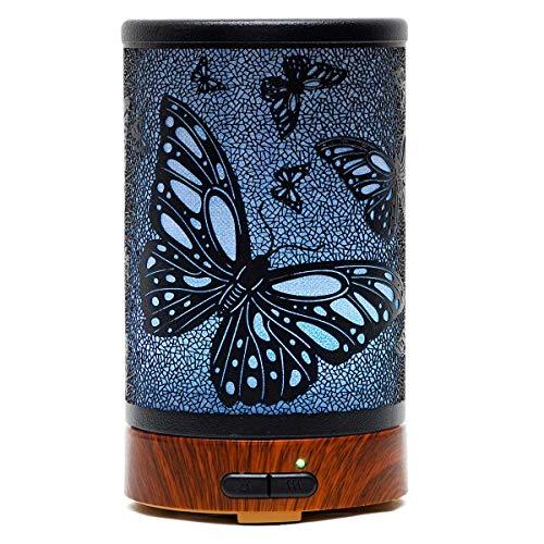 EQUSUPRO Difusor de Aceites Esenciales, Difusor de Aromas, Ultrasónico Aromaterapia Humidificador, Automáticamente Apaga Cuando sin Agua, 7 Colores de LED, 100ml (Mariposa)