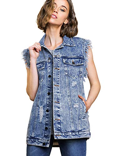 ANNA-KACI Womens Oversized Distressed Mouwloos Denim Vest Zakken Jean Jacket