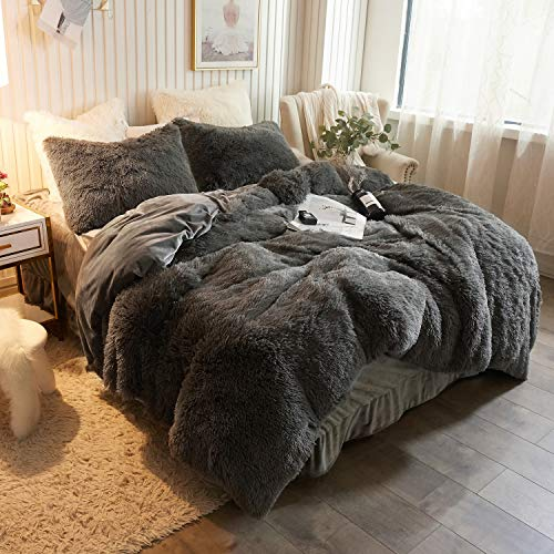 XeGe Plush Shaggy Duvet Cover Luxury Ultra Soft Crystal Velvet Bedding Set 1PC(1 Faux Fur Duvet Cover),Zipper Closure (Queen, Dark Gray)