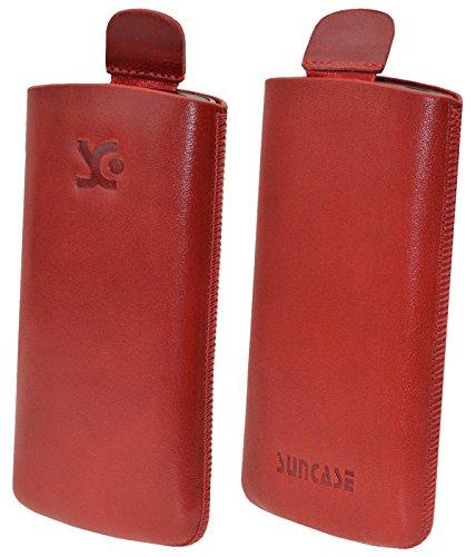 Original Suncase Etui Tasche für / Bea-fon SL340 / Beafon SL340i / Leder Etui Handytasche Ledertasche Schutzhülle Hülle Hülle Lasche *mit Rückzugfunktion* rot