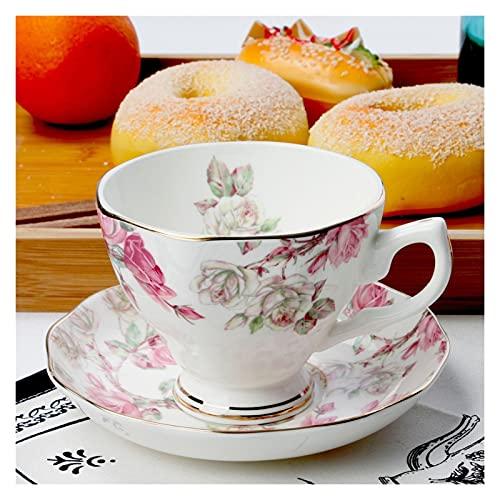 Essinged Hueso China Tazas de café Platos Eleware Europeo Estilo Pastoral Europeo Impresión Floral Tarde Conjunto de té de Porcelana Tazas y Placas 170ml (Color : 18)