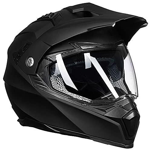 Auboa Dual Sport ATV Helmet Adult, Dirt Bike Helmet Off-Road BMX Motocross Helmet Motorcycle Women Men DOT(Matte Black,L)