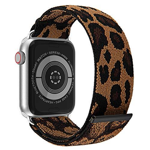 JIELIELE Elastic Apple Watch Bands 38mm 40mm 42mm 44mm for Women, Nylon Braided Solo Loop Apple Watch Bands, Iwatch Bands Compatible with Apple Watch Series SE 6 5 4 3 2 1 (M-38/40 Leopard)