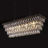 Wellmet Dining Room Crystal Chandelier,30 inch Antique Bronze Rectangle Crystal Ceiling Light,4 Lights Farmhouse Kitchen Island Lighting,Adjustable Hanging Light Fixtures