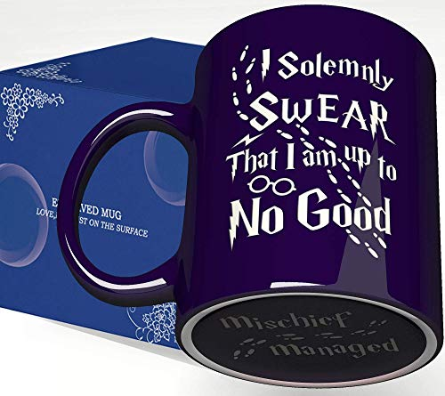Engraved Ceramic Coffee Mug - I Solemnly Swear That I Am Up to No Good - 11 Ounce - Inspirational and Sarcasm Cup