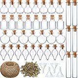 50 Pieces Small Mini Glass Jars Bottle with Cork Stopper Tiny Wishing Bottles with Eye Screws Funnel and Rope Small Cork Clear Glass Bottle for DIY Crafts Bead Container (Mixed Style)
