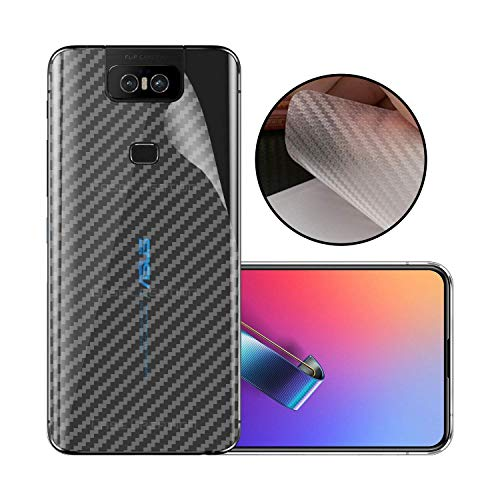 S-Softline Ultra Thin Slim Fit 3M Clear 3D Carbon Fiber Back Skin Rear Screen Guard Protector Sticker Protective for Asus Zenfone 6Z (Transparent)