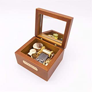 YouTang Wood Music Box,Mini Musical Box with Gold-Plating Movement,Play Beauty and The Beast,Brown
