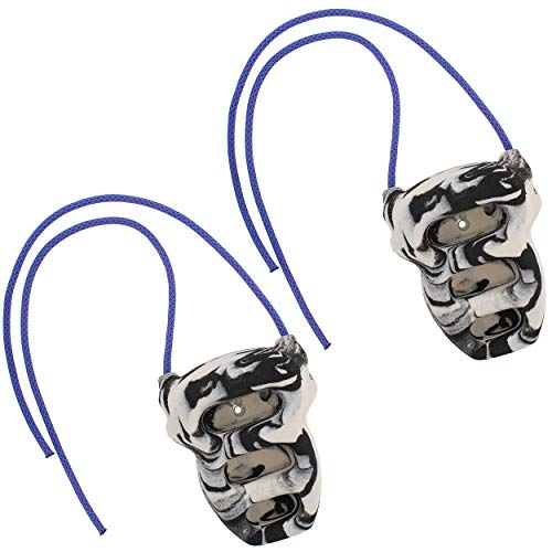 Get Out! Mini Hangboard Rock Climbing Rock Rings in Black/White Swirl with Rope - Climbing Board for Strength Exercises