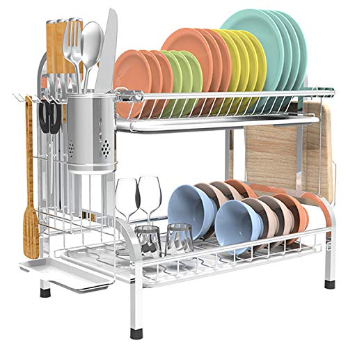 Shop Again Dish Drying Rack Stainless Steel 2 Tier Dish Rack with Drainboard Dish Drainer for Kitchen Counter, Silver