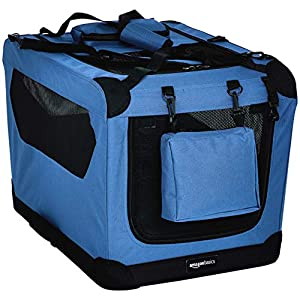 Amazon Basics Premium Folding Portable Soft Pet Dog Crate Carrier Kennel – 26 x 18 x 18 Inches, Blue