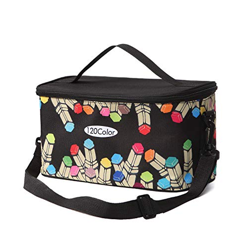 Toprema New Marker Pen Case Holder for 120 Markers Organizer Multifunctional Zipper Storage Carrying Bag with Pattern Black