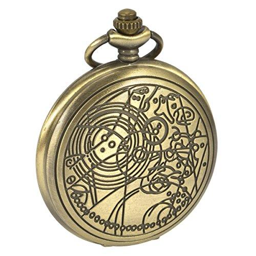 SIBOSUN Doctor Who Quarz Taschenuhr Dr. Who Antik Männer Bronze Mit Kette + Box