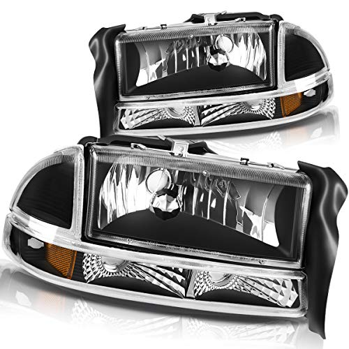 For 1997-2004 Dodge Dakota 1998-2003 Dodge Durango Headlight Assembly Headlamp Replacement with Park Signal Lamp Black Housing