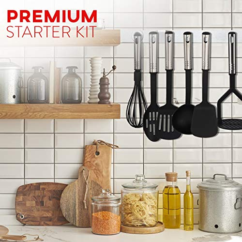 Kitchen Utensil Set 24 Nylon and Stainless Steel Utensil Set, Non-Stick and Heat Resistant Cooking Utensils, Best Kitchen Tools, Useful Pots and Pans Accessories and Kitchen Gadgets (Black)