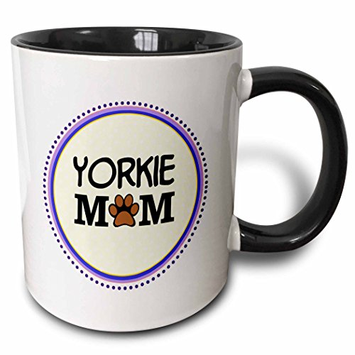 3dRose 151839_4 Yorkie Dog Mom Mug, 11 oz, Black