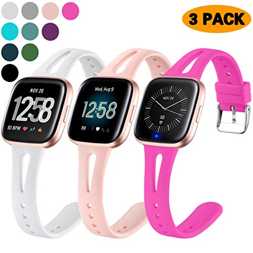 Ouwegaga Compatible for Fitbit Versa 2 Bands for Women Men Versa Lite Band White Hot Pink Pink Sand Small 3 Packs
