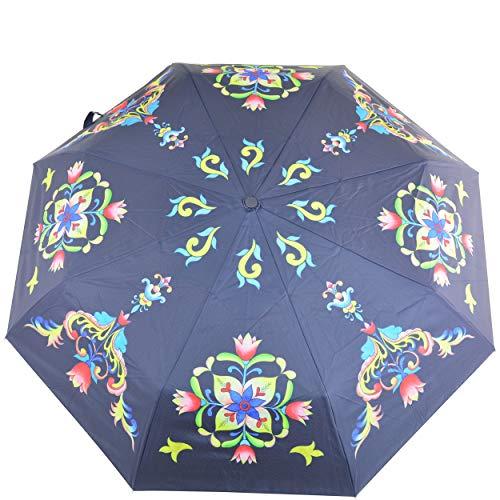 Anuschka Regenschirm, automatisches Öffnen/Schließen, UPF 50+, maximaler Sonnenschutz, wasserdicht, passt in die Handtasche, 96,5 cm Gr. Einheitsgröße, Toskanische Fliesen