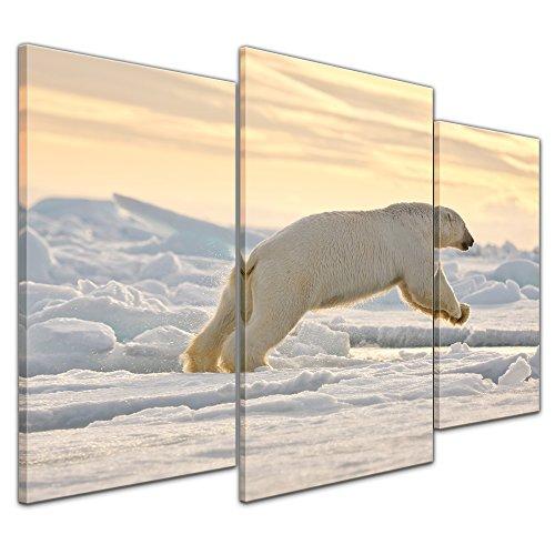 Wandbild Eisbär im Sprung - 100x60 cm quer mehrteilig Bilder als Leinwanddruck Fotoleinwand Tierbild Jäger - Arktis - weißer Eisbär am Polarkreis