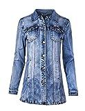 Fraternel Damen Jacke Mantel Lange Jeansjacke talliert Denim Jacket Blau XXL / 44