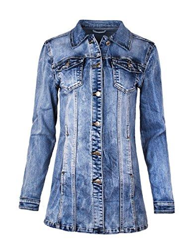 Fraternel Damen Jacke Mantel Lange Jeansjacke talliert Denim Jacket Blau L / 40