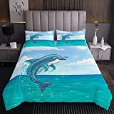 Cartoon-Delphin Tagesdecke 170x210cm Süßes Springen Steppdecke für Kinder Jungen Mädchen Weisse Wolke Weichste Bettwäsche Set Tagesdecke Bettbezug 2St