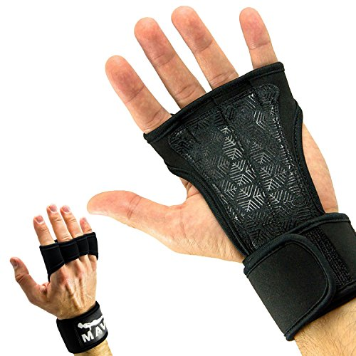 Mava Sports Cross Training Gloves with Wrist Support, Medium - Black