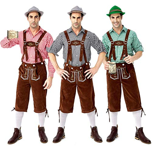 Herren Trachten Lederhose, Trachten Lederhose mit Trägern Oktoberfest Party Kleidung (Rot, XL)