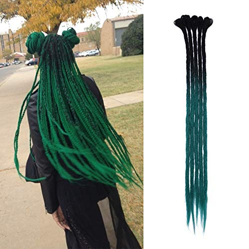 Dreadlock Extension Sintético Hair Dread Extension Rasta para trenzas largas Trenzas Trenzas para el cabello Fibras 60cm para Mujeres Hombres, Paquete de 5, Negro natural/Verde oscuro