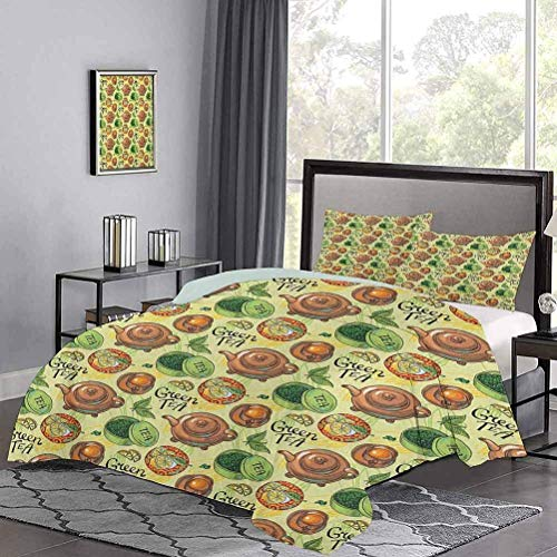 Bedspreads Coverlet Green Tea Theme Pattern with Lemon Slices Herbal Leaves Healthy Aromatic Beverage Boys Bedding Sets for Christmas Birthday Wedding Gift Multicolor