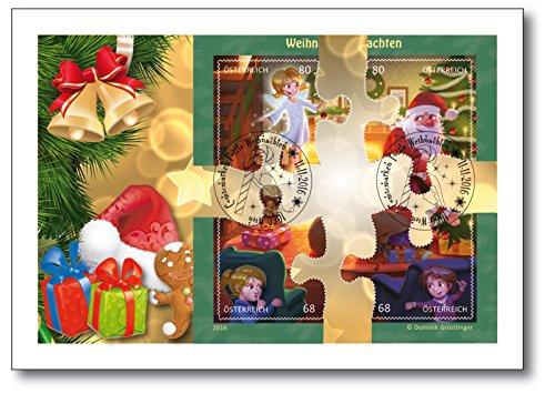 Weihnachts-Briefmarken-Block | Ersttagsbrief | exklusiver & limitierter Ersttagsbrief | Puzzle-Block | in aufwendiger Handarbeit frankiert | weltweit nur 150 Exemplare | Ersttagssonderstempel
