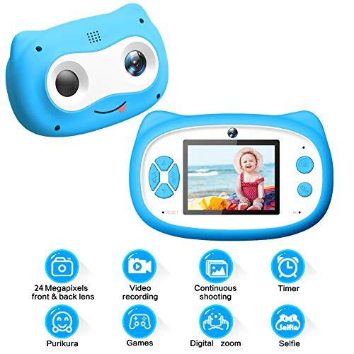 Camara Fotos Infantil Camara Fotos Niños 24MP 1080P HD 18X Zoom Digital Cámara Digital para Niños Recargable Dual Selfie Camara de Fotos para Niños Regalos de Cumpleaños de Navidad para Niñas Niños