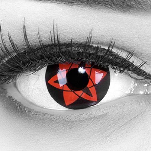Meralens Farbige rote Crazy Fun Sharingan Kontaktlinsen 'Sasuke Mangekyu' mit gratis Linsenbehälter Topqualität zu Fasching, Karneval und Halloween