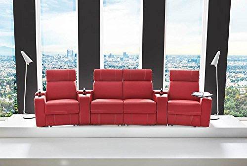 4er Cinema Sessel, Kunstleder in rot, verstellbar durch Halbautomatik mit Getränkehaltern, Stauraumfächern u. Ablage, Maße: B/H/T ca. 356/101/100 cm