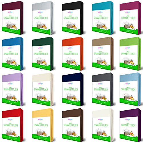 EllaTex Jersey Spannbettlaken Spannbetttuch aus Reiner Baumwolle in Farbe: Natur, Größe: 90x200-100x200cm