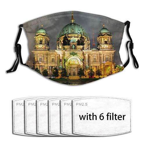 Popsastaresa Berliner Dom, Deutschland,Staubwaschbarer wiederverwendbarer Filter und wiederverwendbarer Mundschutz gesicht mit 6 Filtern