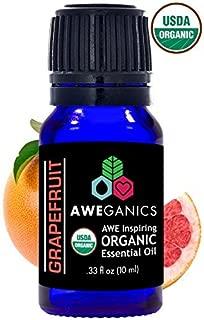 Aweganics Pure Grapefruit Oil USDA Organic Essential Oils, 100% Pure Natural Premium Therapeutic Grade, Best Aromatherapy Scented-Oils for Diffuser, Home, Office, Women, Men - 10 ML - MSRP $14.99