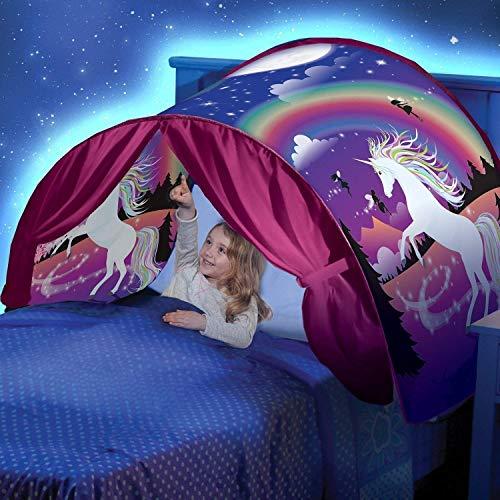 Tenda Per Letto Bambini, Tenda Da Gioco Per Bambini Pop-Up, Casa Fantasy Per Bambini, Compleanno e Regali Di Natale(unicorno)