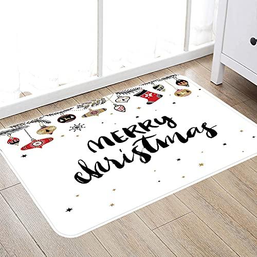 Alfombra de baño súper Suave de 50 x 80 cm,Navidad, Feliz Navidad Cita con Letras de Pincel Moderno Frase Creativa de Noel Impresión inspira Alfombra de baño Absorbente Antideslizante