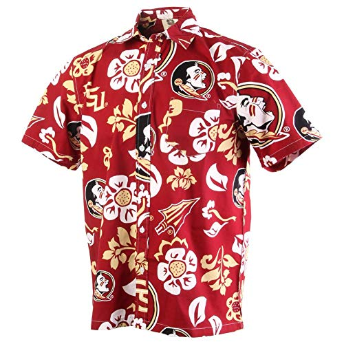 Wes and Willy NCAA Mens Short Sleeve Button Up Floral Beach Shirt (Large, Florida State Seminoles)