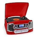 AUNA RTT-885RE Plattenspieler Retro Kompaktanlage (USB-Anschluss zum Digitalisieren, MP3- und CD-Player, UKW-Radiotuner, 50er Jahre Design) rot