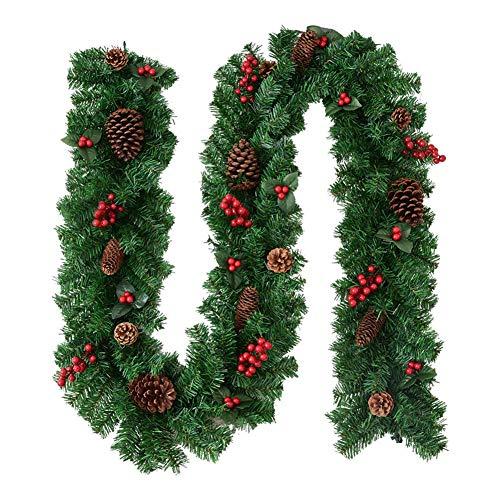 HUVE 2.7M Ghirlanda di Natale Rattan Pigna Artificiale Bacche Rosse Piante di Vite Porta di Natale Tradizionale Appesa Corona Rattan Verde per Decorazioni Natalizie per La Casa