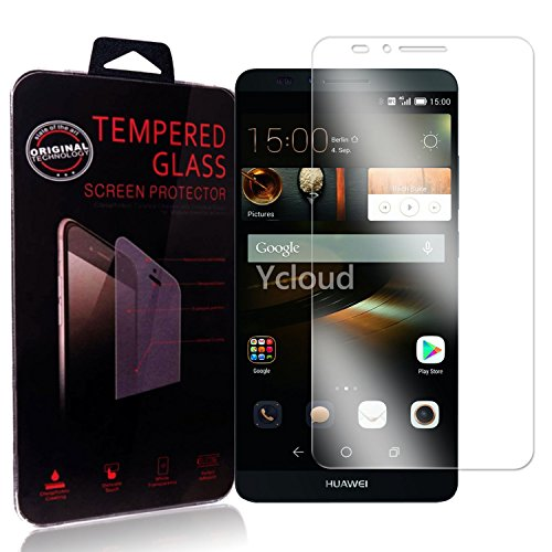 Ycloud Panzerglas Folie Schutzfolie Bildschirmschutzfolie für Huawei Ascend Mate 7 screen protector mit Festigkeitgrad 9H, 0,26mm Ultra-Dünn, Abger&ete Kanten