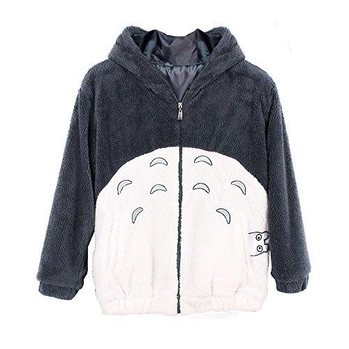 Double Villages Unisex Anime Kapuzenpullover Sweatshirt Hemd Meine Nachbar Totoro Lange Ärmel Vlies Mit Kapuze Sweatshirt (S)