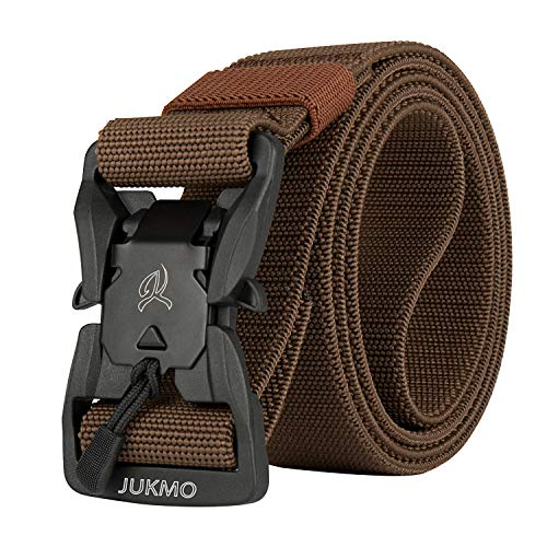 JUKMO Cinturón táctico, Military Rigger de 3,8 cm de nailon con hebilla magnética de liberación rápida, Coffee, Small (for waist 30'-36')