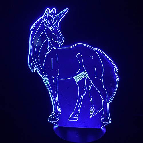 Visuelle Licht 3D Nachtlichter Nette Einhorn Kopf Led Nachtlicht Tier Lampe Schreibtisch Tisch Dekor Für Kinder Party Schlafzimmer Kinder Geschenke 3D Lampe Touch Schalter