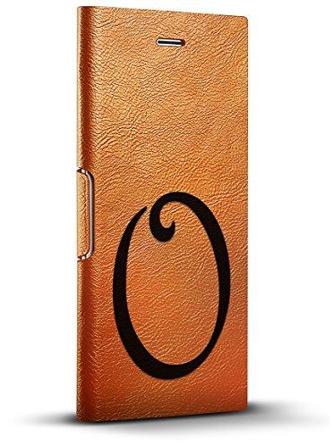 Luxendary Schwarze Initiale K3 Cooles Design iPhone 8/7/6 Plus (5,5 Zoll) Leder-Schutzhülle – Tawny Brown, Black Initial O2, iPhone 8/7/6/6s Plus, gelbbraun