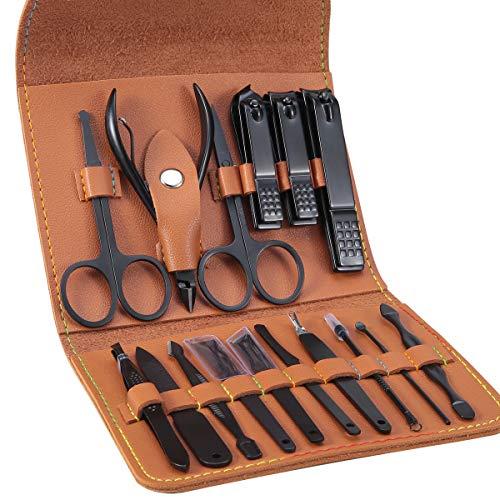 Leipple Maniküre Set Professionelles Nagelknipser Kit Pediküre Kit -16 stücke Pflegeset aus Edelstahl Nagelpflege Werkzeuge mit luxuriöser Leder Reisetasche (Braun)